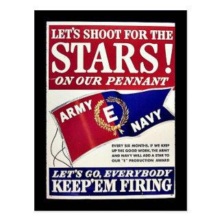 Tirons pour les étoiles sur notre fanion cartes postales