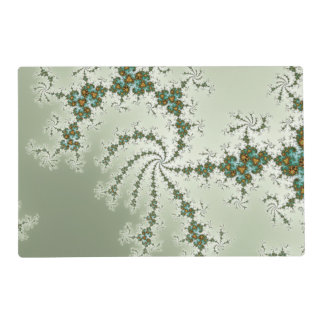 Tirquoise Fractal with Orange and Rust Laminated Place Mat