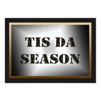 Tis Da Season Black Gold Fleur de Lis Party Card