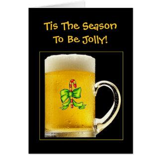 Tis Season To Be Jolly Funny Beer Mug Christmas Card