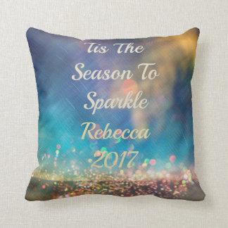 Tis The Season Aurora Borealis Sparkle Name Pillow