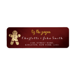 Tis The Season Burgundy Golden Gingerbread White Return Address Label