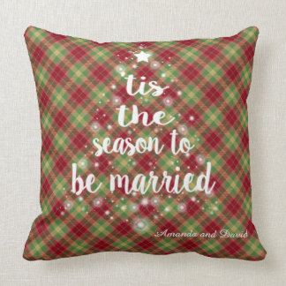 """'Tis the season handwriting Red Plaid Wedding Throw Pillow"