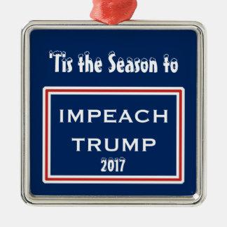 Tis the Season Impeach Trump Red White Christmas Metal Ornament