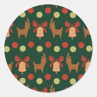 Tis the Season Pattern Classic Round Sticker