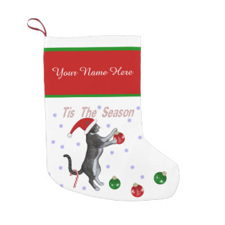 Tis The Season Santa Cat Small Christmas Stocking