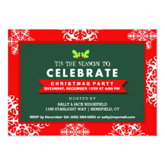 Tis the Season to Celebrate Red & Green Inivtation Card