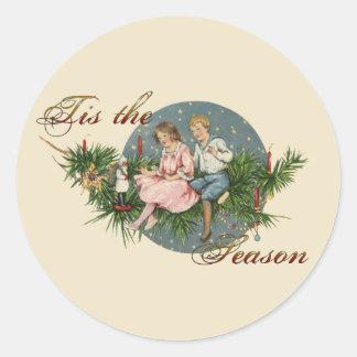 Tis the Season Vintage Scene Classic Round Sticker
