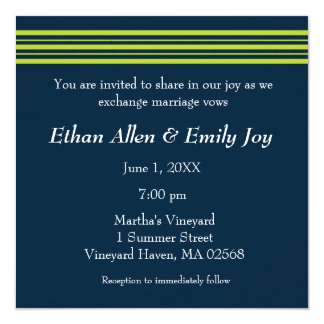 Tisbury - Navy and Green - Wedding Invitation