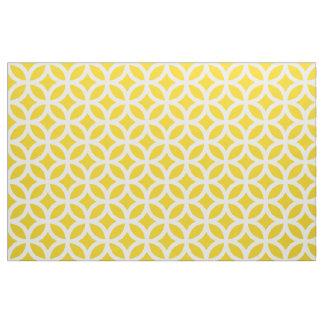 Tissu géométrique jaune citron de motif