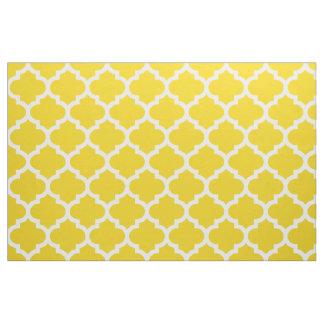 Tissu jaune citron de treillis de Quatrefoil de