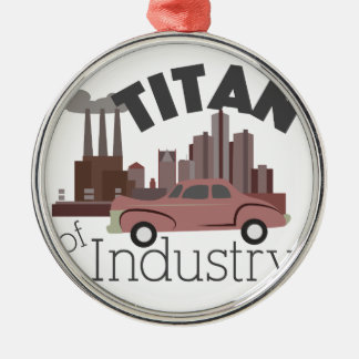 Titan of Industry Silver-Colored Round Ornament