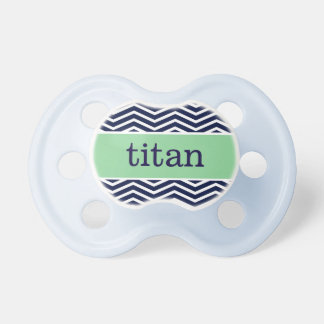 """Titan"" Personalized Name - Chevron Print Baby Pacifier"