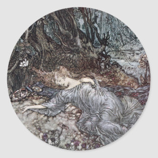 Titania Lying Asleep Classic Round Sticker