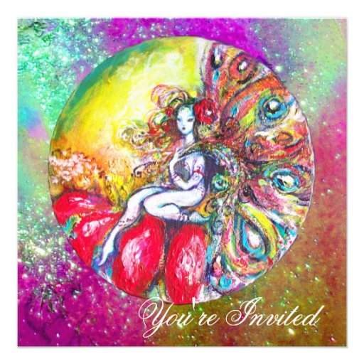 TITANIA , pink yellow blue purple red sparkles Custom Announcement