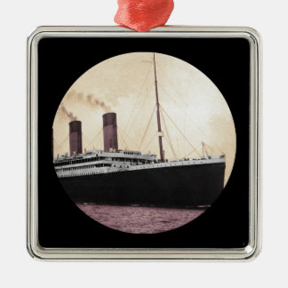 Titanic at Sea Silver-Colored Square Ornament