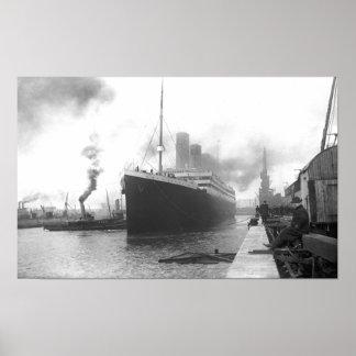 Titanic at the docks of Southampton Poster