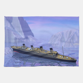 Titanic boat sinking - 3D render Kitchen Towel