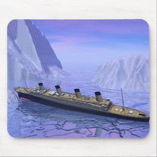 Titanic boat sinking - 3D render Mouse Pad