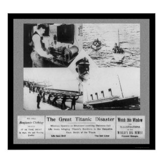 Titanic Disaster Vignettes 1912 Poster
