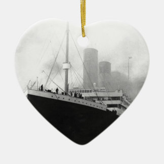 Titanic in dock in Southampton Ceramic Heart Ornament