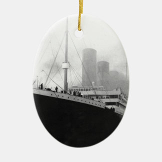 Titanic in dock in Southampton Ceramic Oval Ornament