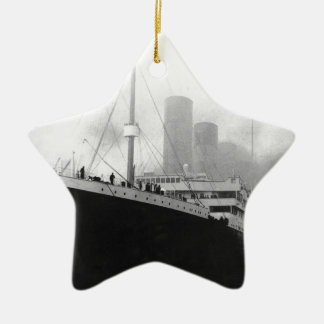 Titanic in dock in Southampton Ceramic Star Ornament