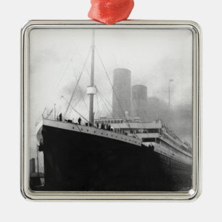 Titanic in dock in Southampton Silver-Colored Square Ornament