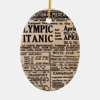 Titanic Newspaper Ad Ceramic Oval Ornament