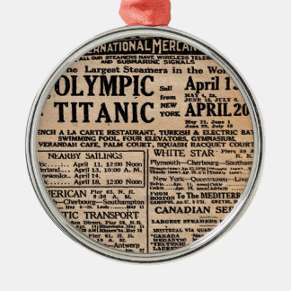 Titanic Newspaper Ad Silver-Colored Round Ornament
