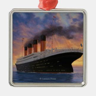 Titanic SceneWhite Star Line Silver-Colored Square Ornament