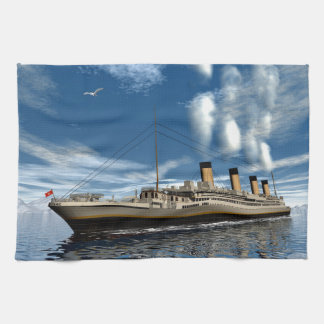 Titanic ship - 3D render.j Kitchen Towel