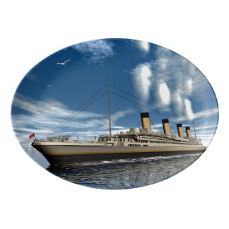 Titanic ship - 3D render.j Porcelain Serving Platter