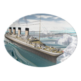Titanic ship - 3D render Porcelain Serving Platter
