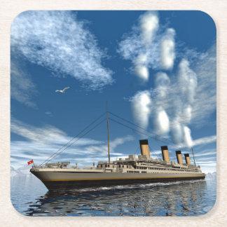 Titanic ship - 3D render Square Paper Coaster