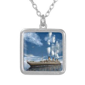 Titanic ship silver plated necklace