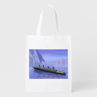Titanic ship sinking - 3D render Reusable Grocery Bag