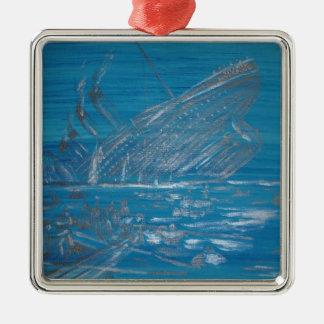 Titanic Silver-Colored Square Ornament