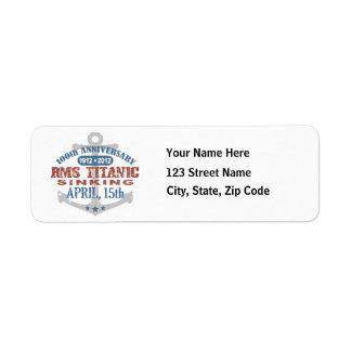 Titanic Sinking 100 Year Anniversary Return Address Labels