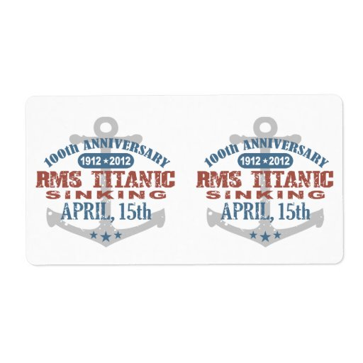 Titanic Sinking 100 Year Anniversary Shipping Labels