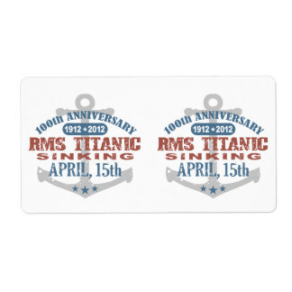 Titanic Sinking 100 Year Anniversary Shipping Label