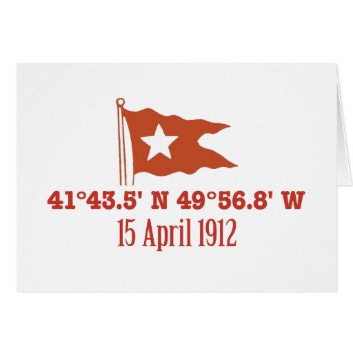 Titanic Sinking GPS Coordinates & White Star Flag Card
