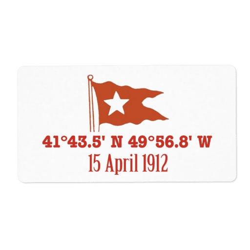 Titanic Sinking GPS Coordinates & White Star Flag Labels