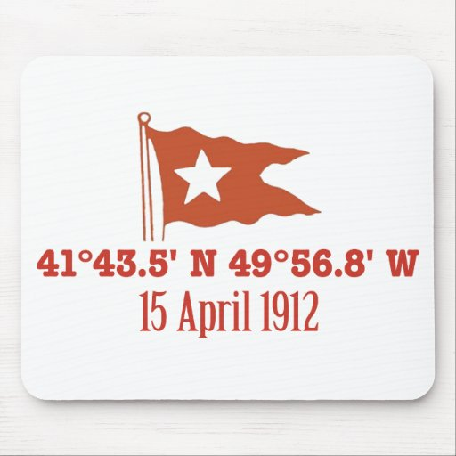 Titanic Sinking GPS Coordinates & White Star Flag Mouse Pads