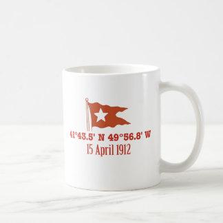 Titanic Sinking GPS Coordinates & White Star Flag Basic White Mug