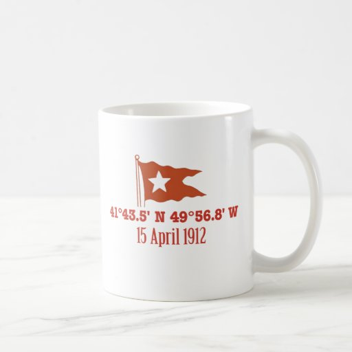 Titanic Sinking GPS Coordinates & White Star Flag Mugs