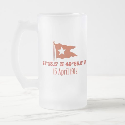 Titanic Sinking GPS Coordinates & White Star Flag Coffee Mugs