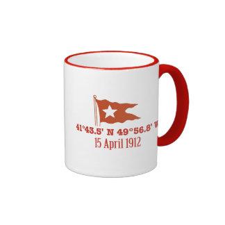 Titanic Sinking GPS Coordinates & White Star Flag Mug
