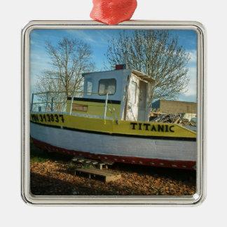 Titanic Tug Silver-Colored Square Ornament