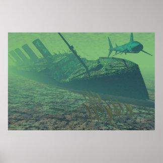 titanic under water, green-blue, poster